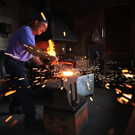 Roy Abbott at work in the forge